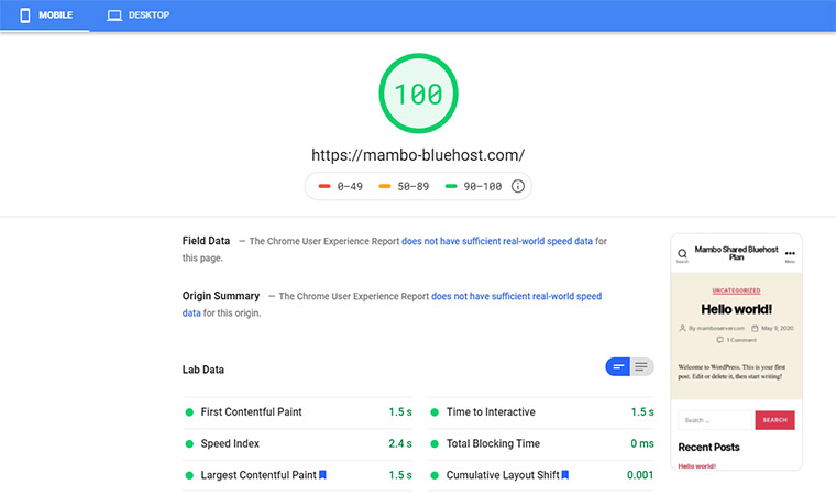 Bluehost Google Speed Test November