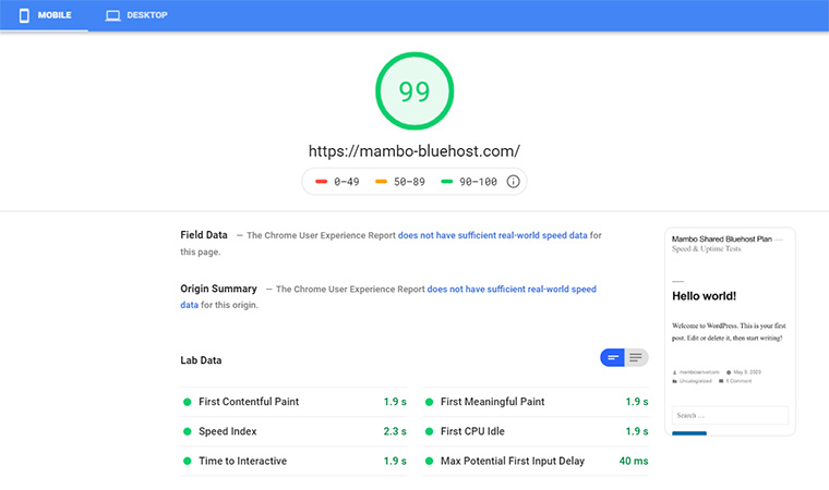 Bluehost Google Speed Test July