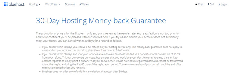 Bluehost Money-Back Guarantee Policy