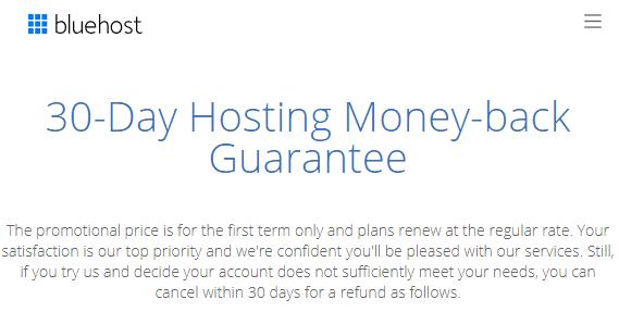 Bluehost Money Back Guarantee