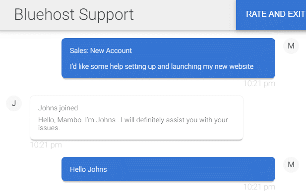 Bluehost Support Chat answering in less than 10 seconds
