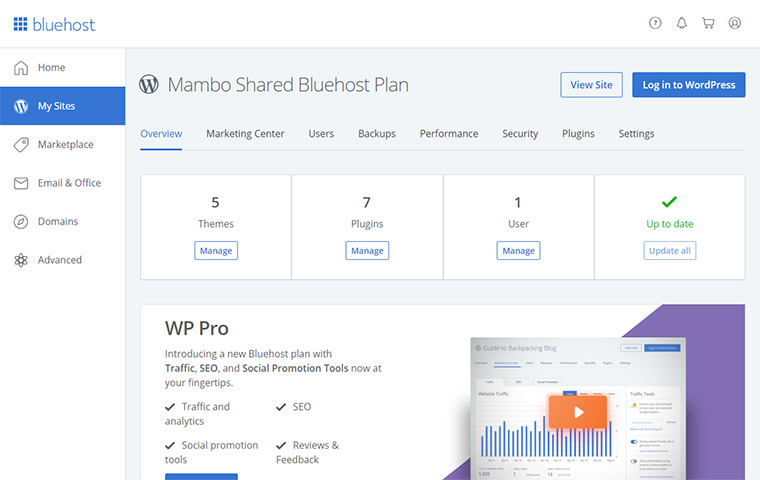 Bluehost Customer Dashboard