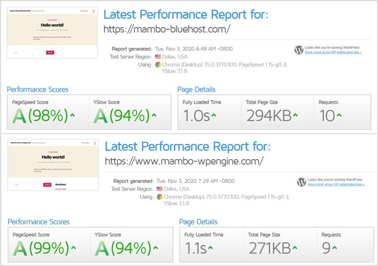 Bluehost and WP Engine GTMetrix Speed Report