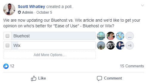 Bluehost vs Wix Facebook Poll