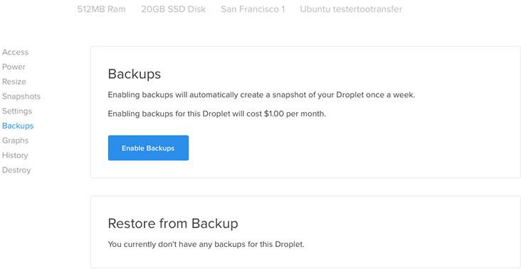 DigitalOcean Backup Service