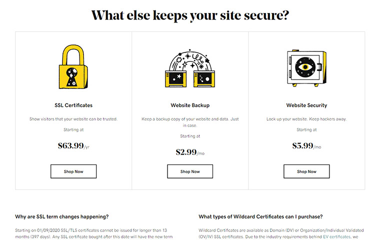 GoDaddy Security Features Prices