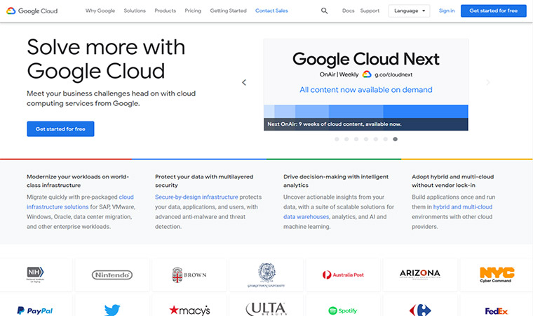 Google Cloud Homepage