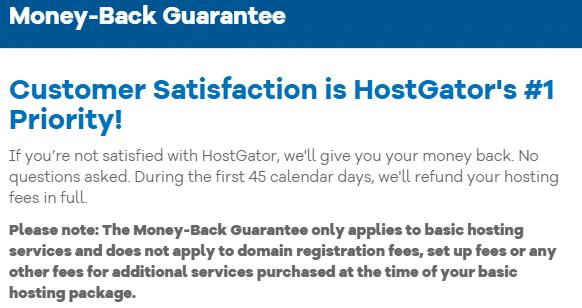HostGator Money Back Guarantee Policy