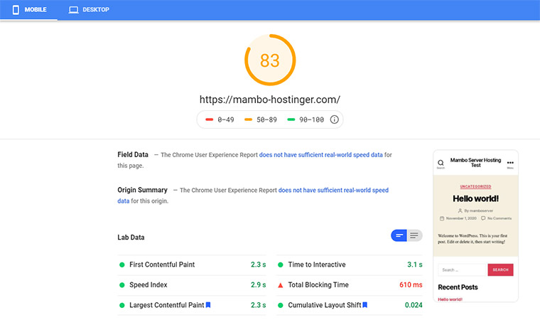 Hostinger Google Speed Test November