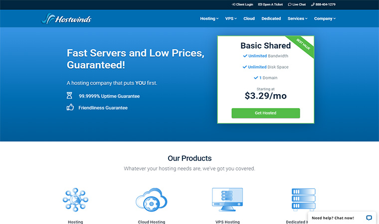 Hostwinds Homepage