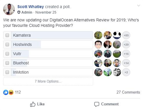 Kamatera Voted #1 Alternative on Facebook Poll