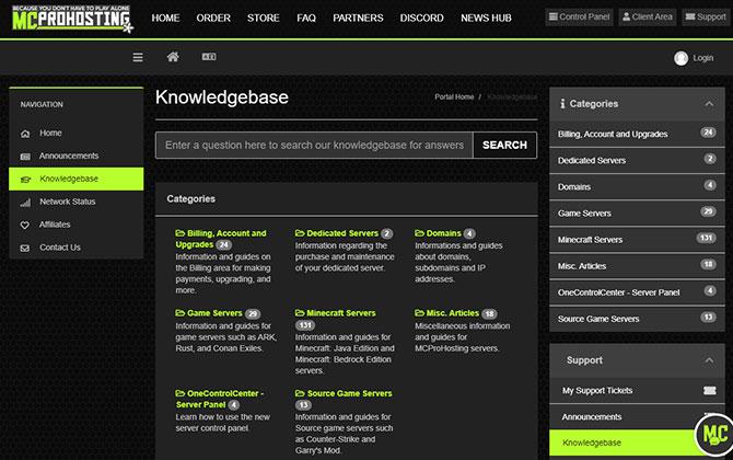 MCProHosting Knowledgebase