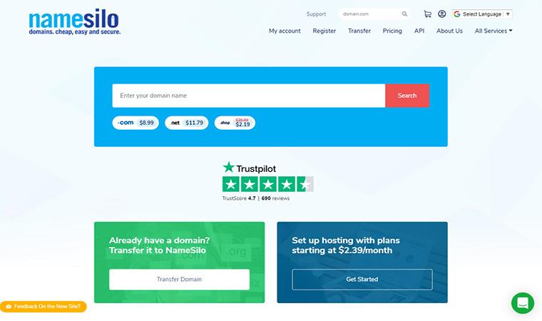 NameSilo Homepage