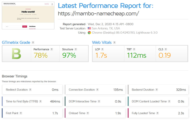 Namecheap GTMetrix Speed Report December