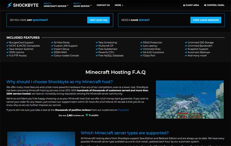 Shockbyte Minecraft Server Hosting Features