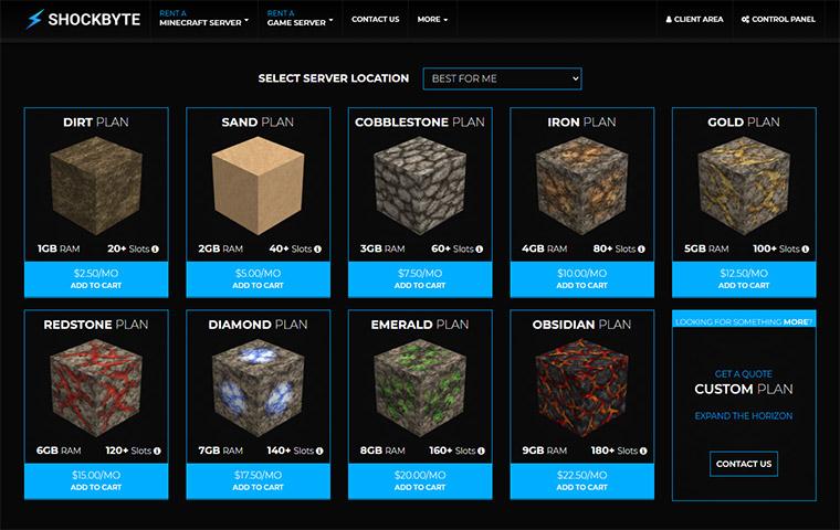Shockbyte Minecraft Server Hosting Plans