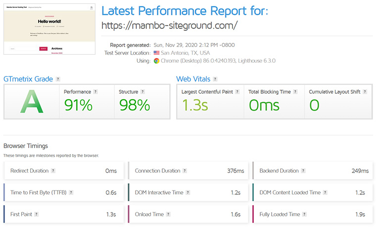 SiteGround GTMetrix Speed Report November