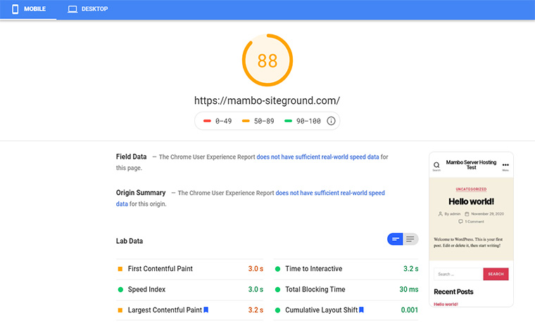 SiteGround Google Speed Mobile Test December