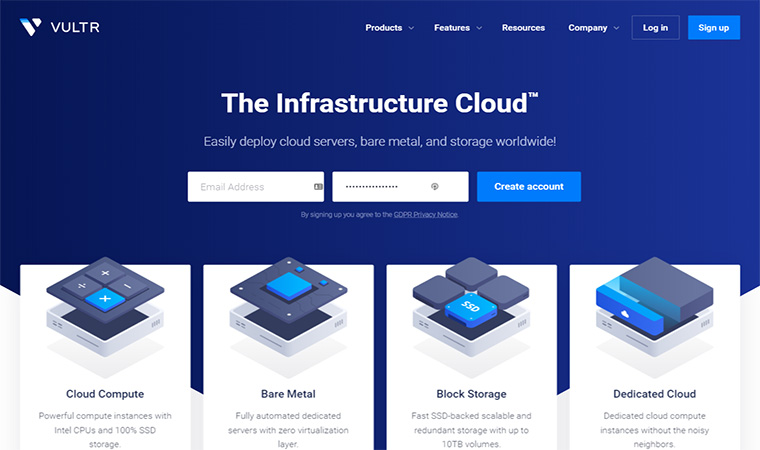 Vultr Homepage
