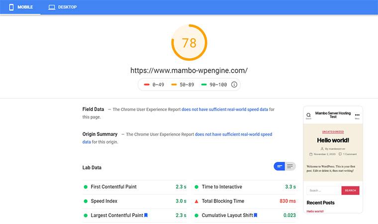 WP Engine Google Speed Test November