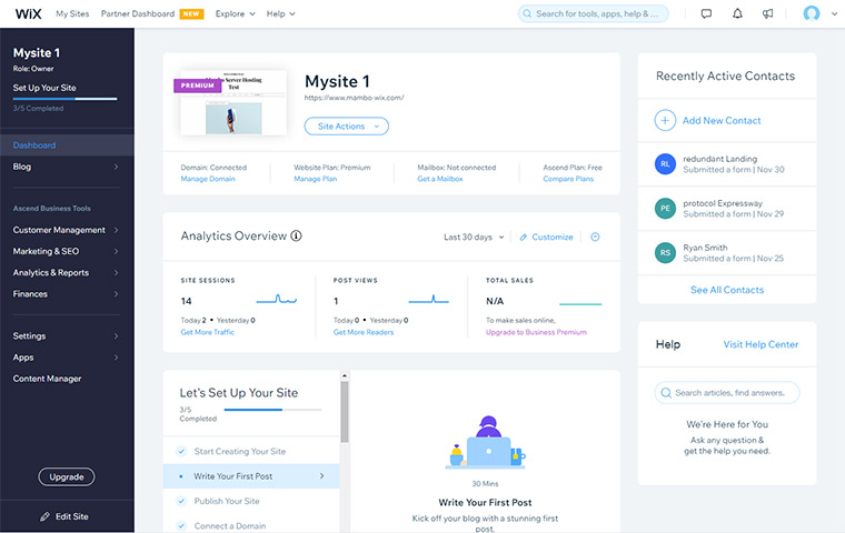 Wix Customer Dashboard