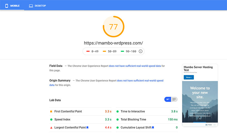 WordPress Google Speed Test July